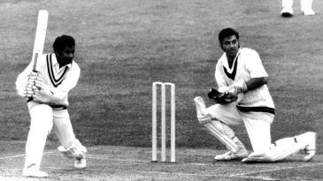 Alvin Kallicharran drives on his way to a half-century