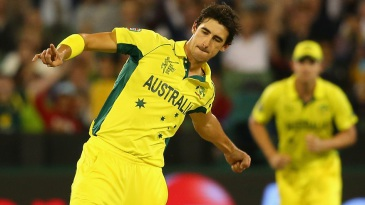 Mitchell Starc is gung ho after bowling Stuart Broad for a golden duck