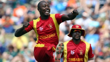 Tendai Chatara leaps after taking a wicket