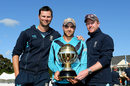 Craig Wright and Paul Collingwood flank Preston Mommsen, holding the World Cup Qualifier trophy, Scotland v UAE, World Cup Qualifier, final, Lincoln, February 1, 2014