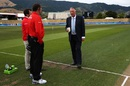 Ian Botham has a chat with the umpires ahead of the match, Ireland v West Indies, World Cup 2015, Group B, Nelson, February 16, 2015