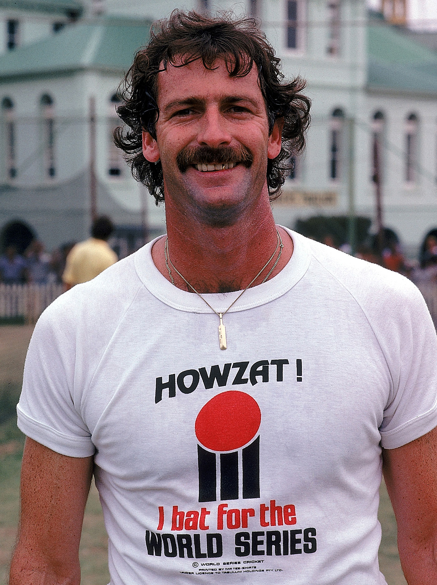 Dennis Lillee and his WSC t-shirt