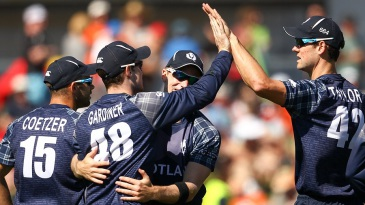 The Scotland bowlers chipped away at the wickets