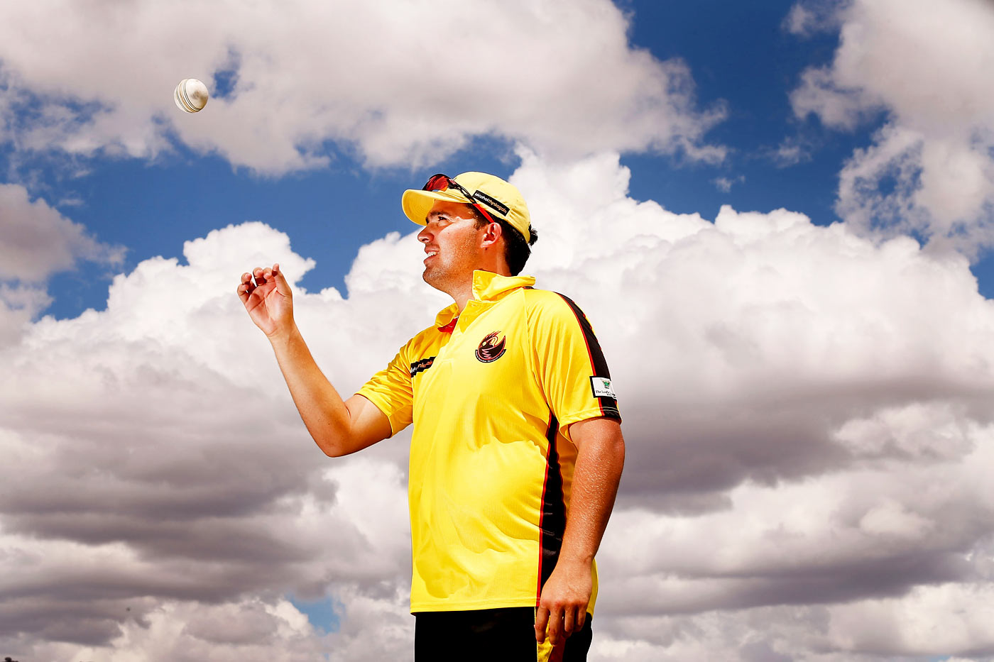 Michael Bailey of Western Australia poses for a photo after taking five wickets against Northern Territory in their Imparja Cup match