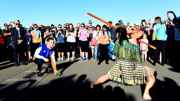 Eoin Morgan accepts the Wero challenge during an official Maori welcome
