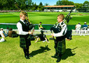 Two pipers play the bagpipes during Scotland's match in Dunedin, New Zealand v Scotland, World Cup 2015, Group A, Dunedin, February 17, 2015