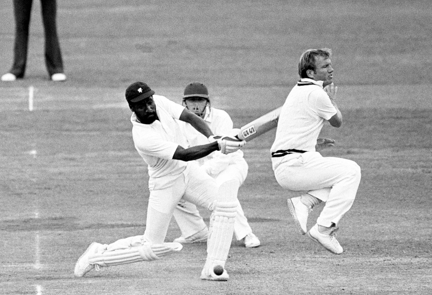 Take cover: Viv Richards on the attack was a fearsome creature