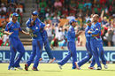 Afghanistan celebrate the wicket of Tamim Iqbal, Afghanistan v Bangladesh, World Cup 2015, Group A, Canberra, February 18, 2015
