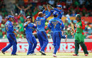 Afghanistan players celebrate the wicket of Anamul Haque even as he asks for a review, Afghanistan v Bangladesh, World Cup 2015, Group A, Canberra, February 18, 2015