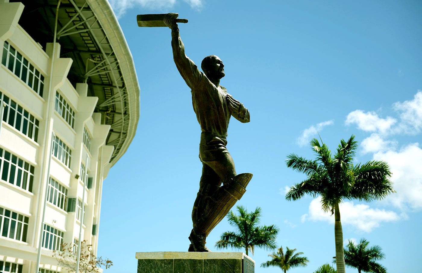 A statue of Viv Richards outside the Sir Vivian Richards Stadium in Antigua