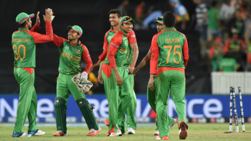 Bangladesh players celebrate after their 105-run victory over Afghanistan