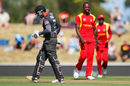 Tendai Chatara looks on as Amjad Ali walks off the field, United Arab Emirates v Zimbabwe, World Cup 2015, Group B, Nelson, February 19, 2015