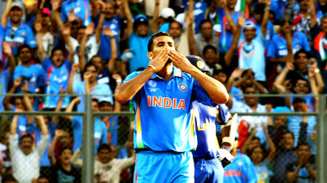 Zaheer Khan celebrates the wicket of Chamara Kapugedera