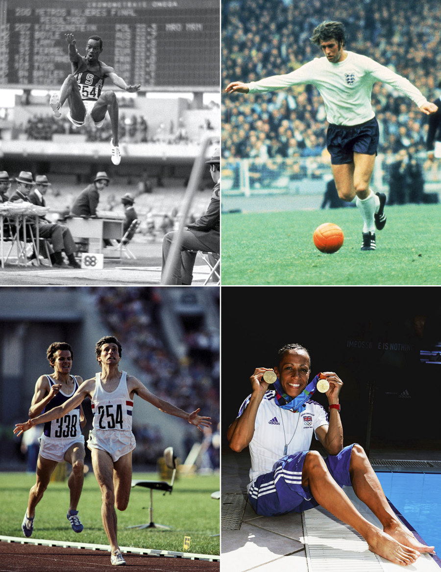 Clockwise from top left: Bob Beamon's world-record jump in 1968; Geoff Hurst, the hero on the greatest day in England's football history; Kelly Holmes with her two gold medals in 2004; Sebastian Coe sealing the 1500m gold in Moscow, 1980