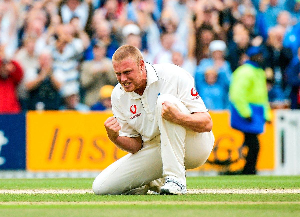 Andrew Flintoff celebrates a wicket