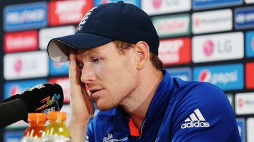 A dejected Eoin Morgan reflects on England's defeat