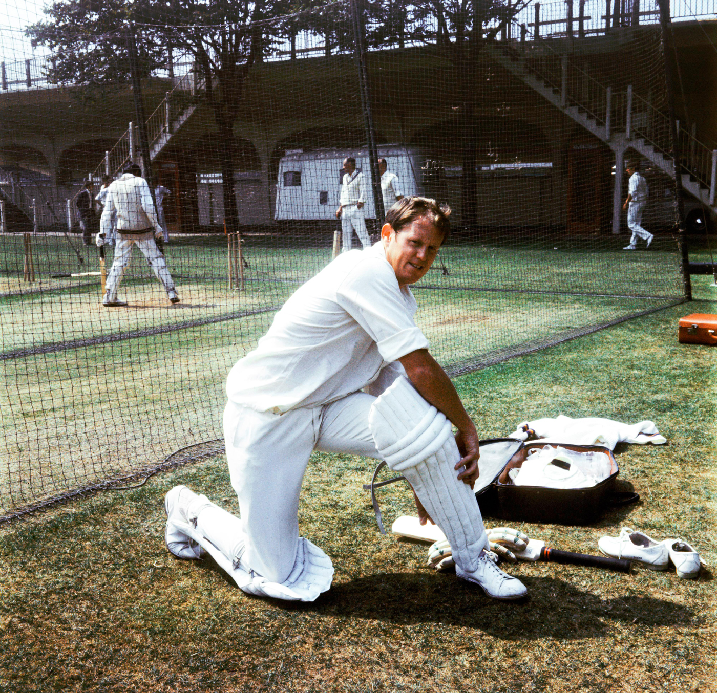 Graeme Pollock pads up for a nets session