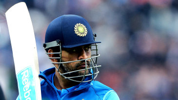 MS Dhoni walks back after being dismissed