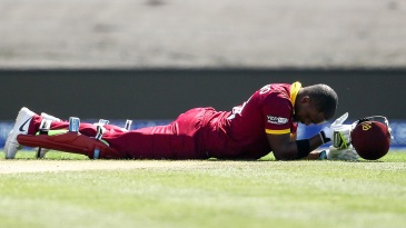 Darren Bravo winces in pain after injuring his hamstring