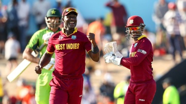 Darren Sammy and Denesh Ramdin are all smiles after West Indies wrapped up a 150-run win