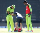 Shahid Afridi gets some treatment from the physio, Pakistan v West Indies, World Cup 2015, Group B, Christchurch, February 21, 2015