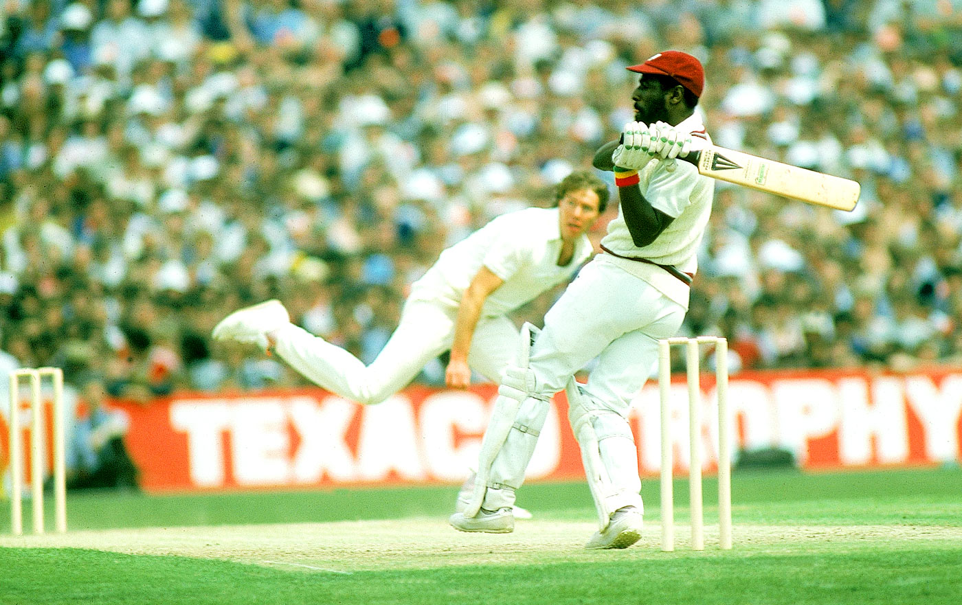 Texaco massacre: Richards on his way to a record 189, against England at Old Trafford, 1984