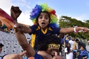 Sri Lankan fans celebrate their team's victory at the University Oval, Afghanistan v Sri Lanka, World Cup 2015, Group A, Dunedin