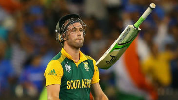 Tuning point: AB de Villiers throws his bat after he was run out for 30