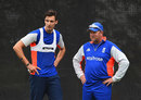 Steven Finn plots a better bowling performance with David Saker, Christchurch, February 22, 2015