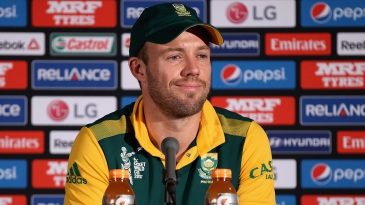 AB de Villiers speaks to the media after his side's loss