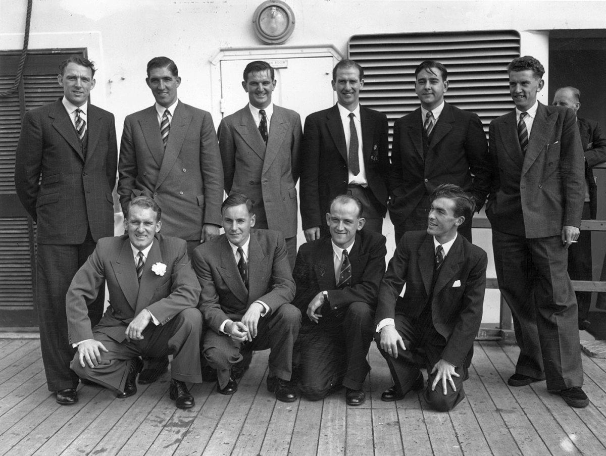 Members of the England team before departing for Australia and New Zealand in 1954