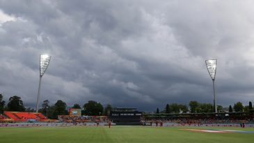 Dark clouds loom over the Manuka Oval