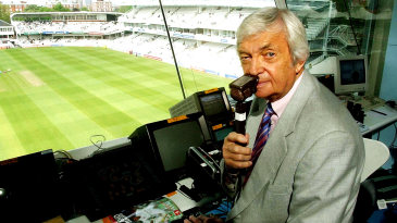 Richie Benaud commentates in his 500th Test