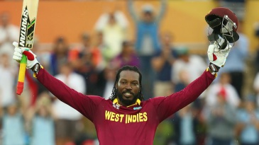 Fifth double-century fox: Chris Gayle soaks in the applause after surging to a double