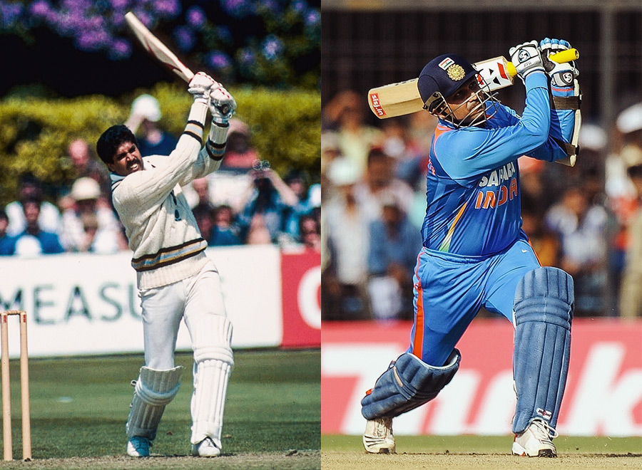 "Kapil Dev's <a href=""http://www.espncricinfo.com/ci/engine/current/match/65083.html"" target=""_blank""><u style=""color:red"">175*</u></a> in 1983 is one of the World Cup's most famous innings, coming as it did after India slumped to 17 for five against Zimbabwe in Tunbridge Wells. Virender Sehwag's <a href=""http://www.espncricinfo.com/icc_cricket_worldcup2011/engine/current/match/433558.html"" target=""_blank""><u style=""color:red"">175</u></a> in the 2011 World Cup was more about making a statement: he smacked the first ball of the tournament for four. The rest of his innings was just as much an exercise in bullying."