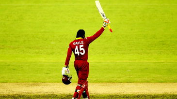 Chris Gayle celebrates his double-century