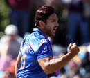 Gulbadin Naib is pumped after removing Preston Mommsen, Afghanistan v Scotland, World Cup 2015, Group A, Dunedin, February 26, 2015