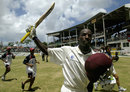 ST JOHN'S, ANTIGUA - MAY 13: Vasbert Drakes of the West Indies celebrates the win during day five of the Fourth Test between the West Indies and Australia played at the Recreation Oval May 13, 2003 in St John's, Antigua.