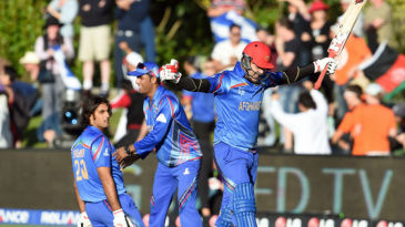 Hamid Hassan celebrates after beating Scotland