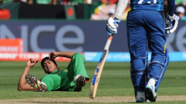 Taskin Ahmed reacts after dropping a catch off his bowling