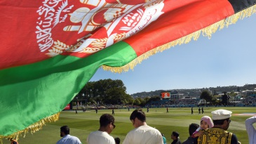 The Afghanistan flag is aloft after their maiden World Cup win