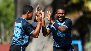Delaimatuku Maraiwaia (left) and Josaia Baleicikoibia celebrate a wicket for Fiji