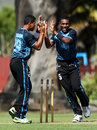 Delaimatuku Maraiwaia (left) and Josaia Baleicikoibia celebrate a wicket for Fiji, Fiji v Samoa, EAP U-19 Trophy, Blenheim, February 27, 2015