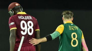 Dale Steyn pats Jason Holder on the back for his 48-ball 56