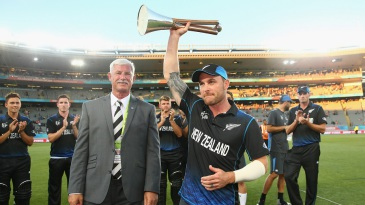 Brendon McCullum collects the Chappell-Hadlee Trophy
