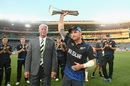 Brendon McCullum collects the Chappell-Hadlee Trophy, New Zealand v Australia, World Cup 2015, Group A, Auckland, February 28, 2015