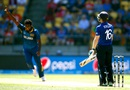Thisara Perera is elated after drawing a mistake from Eoin Morgan, England v Sri Lanka, World Cup 2015, Group A, Wellington, March 1, 2015