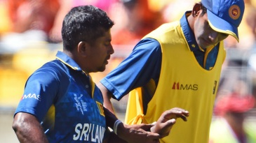 Rangana Herath went off the field after being struck on his hand
