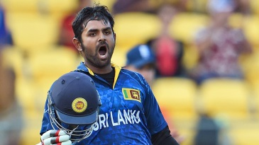 Lahiru Thirimanne roars after becoming the youngest Sri Lankan to score a World Cup century