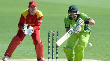 Misbah-ul-Haq pushes the ball onto the off side